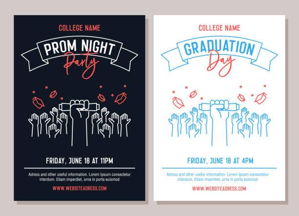 Set von 2 akademischen Plakaten. Vektordarstellungen für Prom Night Party Einladungen und eine andere für Graduationstag Veranstaltungen. Hände erhöht Werfen akademischen Hüte – Vektorgrafik