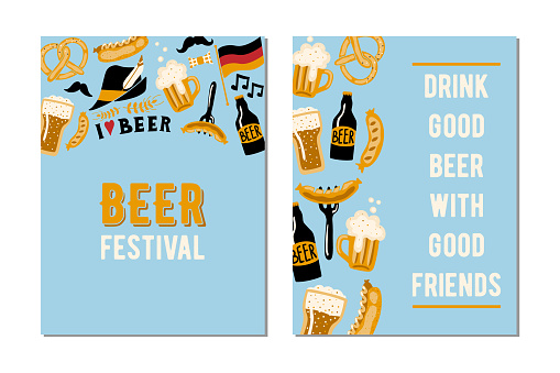 Set of 2 cards for the  beer festival. Drink good beer with good friends . Vector hand drawn design template.