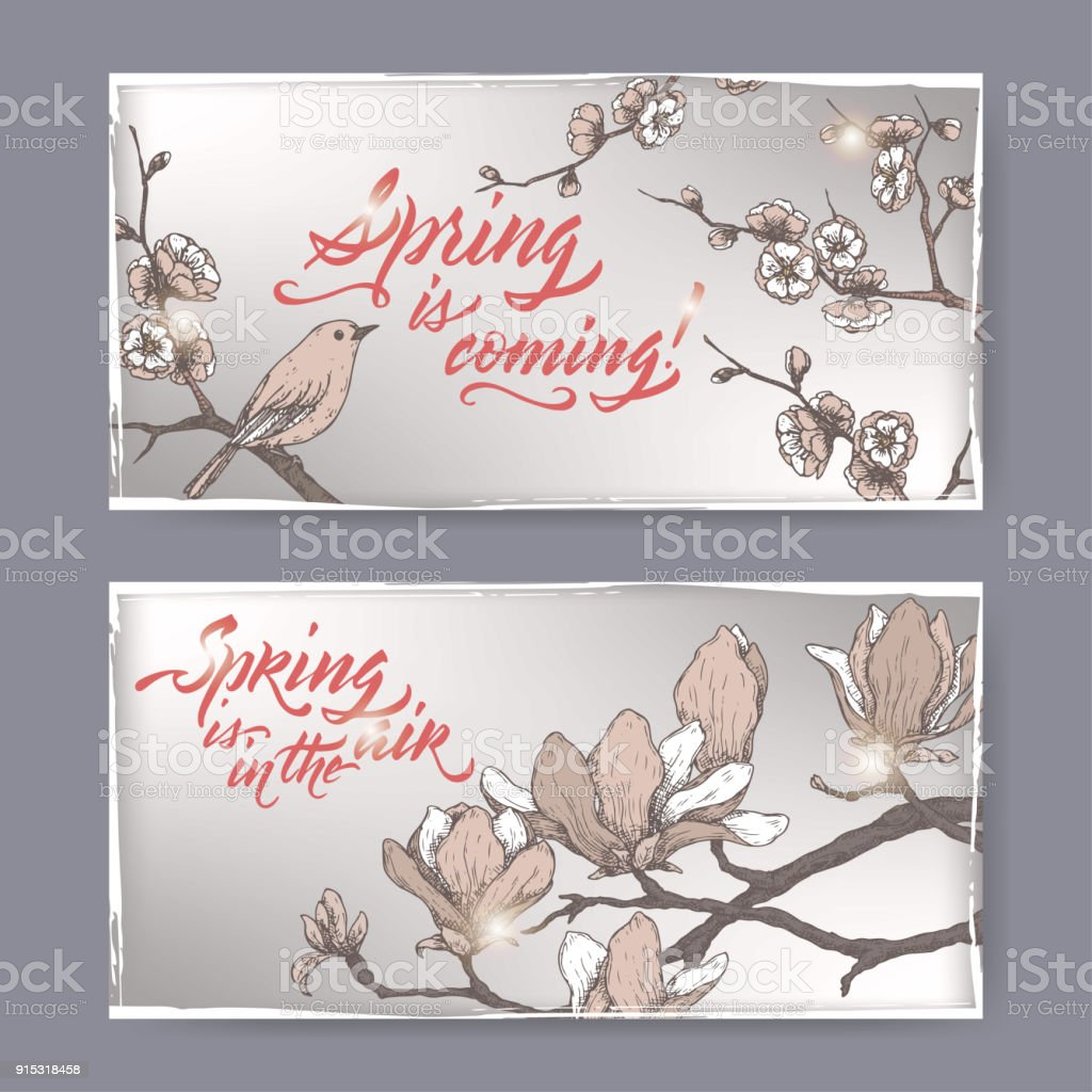 Set Of 2 Romantic Vintage Greeting Cards With Spring Brush