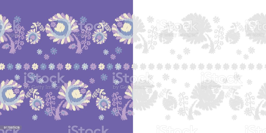 Set Of 2 Seamless Floral Pattern Flowers Background Embroidery On