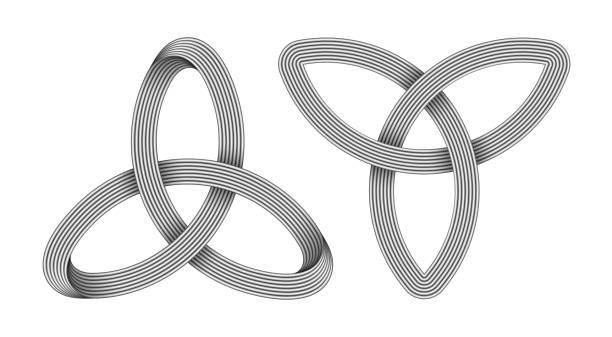 ilustrações de stock, clip art, desenhos animados e ícones de set of 2 triquetra knots made of metallic intersected strips. celtic trinity symbol. vector illustration. - seitas