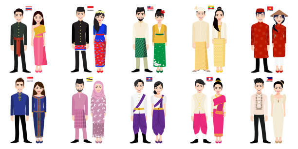 stockillustraties, clipart, cartoons en iconen met set van 20 aziatische mannen en vrouwen cartoon personages in traditionele kostuum met vlag vector - cambodja