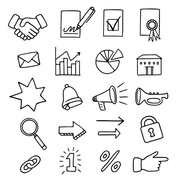 Set of 20 business related icons vector art illustration