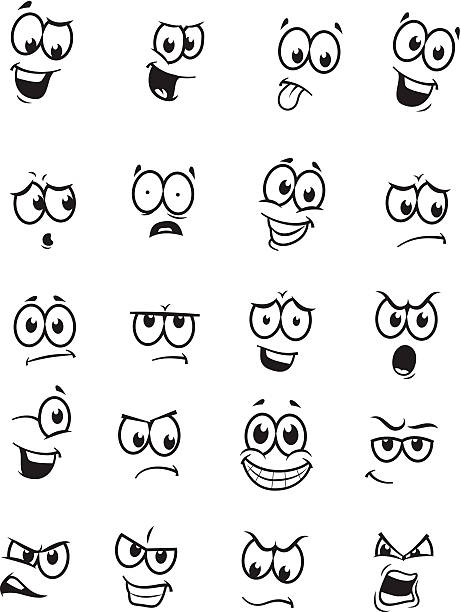stockillustraties, clipart, cartoons en iconen met set of 20 cartoon faces - gezichtsuitdrukking