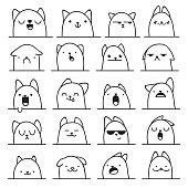 Set of 20 different emotions cat. Anime doodle design