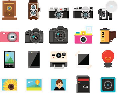 Set of 20 Flat Camera and Photography icons (Kalaful series)