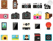 20 flat camera & photography icons. Each icon is carefully constructed according to 128x128 grids.