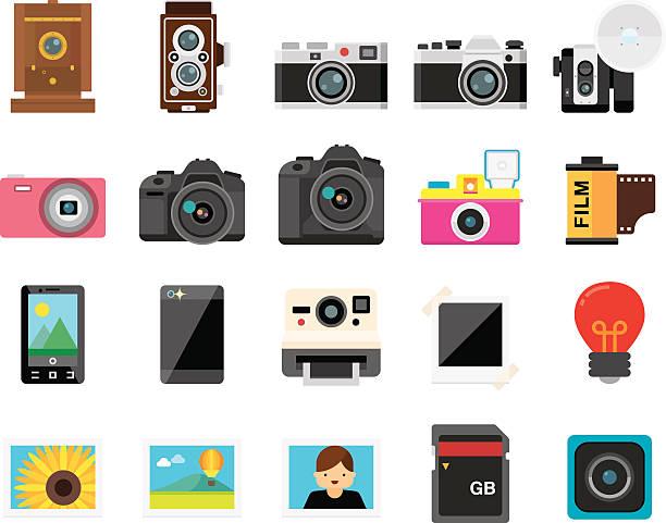 satz von 20 flachbildfernseher kamera und foto-ikonen (kalaful serie - fotografische themen stock-grafiken, -clipart, -cartoons und -symbole