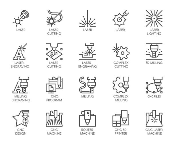 Set of 20 line icons in series of laser cutting. Computer numerical controlled printer, 3D milling machine and other thematic symbols. Stroke mono contour pictograms isolated. Vector outline labels Set of 20 line icons in series of laser cutting. Computer numerical controlled printer, 3D milling machine and other thematic symbols. Stroke mono contour pictograms isolated. Vector outline labels laser stock illustrations