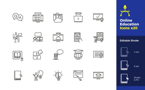 bildbanksillustrationer, clip art samt tecknat material och ikoner med uppsättning av 20 online education relaterade ikoner med redigerbar stroke. vektor illustrationer relaterade till lärande online, internetkurser, workshops, kunskap, ny teknik - digital device classroom
