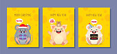 Set of 2020 New Year greeting card template. Cute cartoon white mouse & pig with speech bubble on yellow cheese background. Year of the rat flat vector illustration.