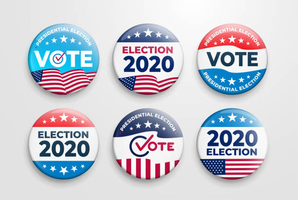 set of 2020 united states of america presidential election button design. voting 2020 icon. government, and patriotic symbolism and colors. label vector illustration. isolated on white background. - ballot stock illustrations