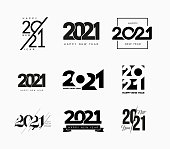 istock Set of 2021 Happy New Year signs. Big collection of 2021 Happy New Year symbols. Greeting card artwork, brochure template. Vector illustration with black holiday labels isolated on white background 1198986181