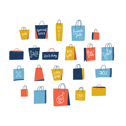Set of 21 shopping paper bags on white background. Vector flat illustration with hand drawn lettering. Elements for Big Black Friday sale.