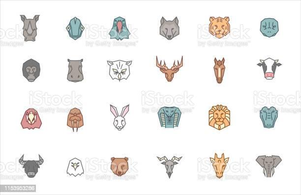 Set of 24 animal heads vector zoo icon collection in tribal geometric vector id1153953286?b=1&k=6&m=1153953286&s=612x612&h=p317n81fdy03e5zrpkoqvg7j3dcebujpdjuaaekd9au=