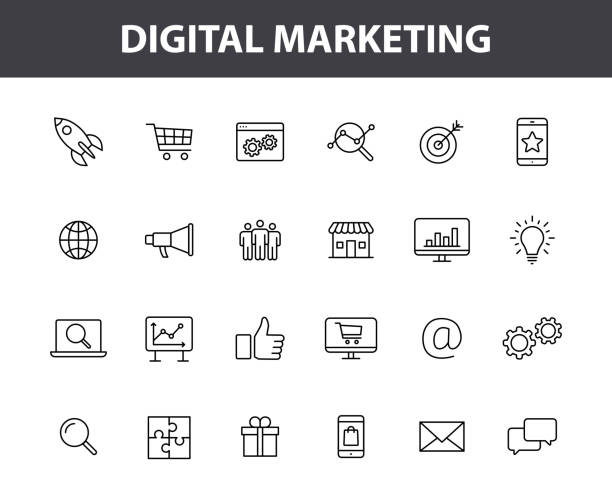 Set of 24 Digital Marketing web icons in line style. Social, networks, feedback, communication, marketing, ecommerce. Vector illustration. Set of 24 Digital Marketing web icons in line style. Social, networks, feedback, communication, marketing, ecommerce. Vector illustration digital marketing stock illustrations