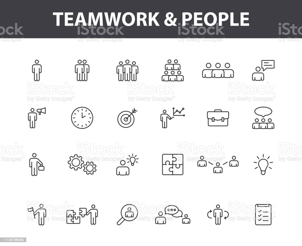 Set of 24 Teamwork web icons in line style. Team Work, people, support, business. Vector illustration. royalty-free set of 24 teamwork web icons in line style team work people support business vector illustration stock illustration - download image now