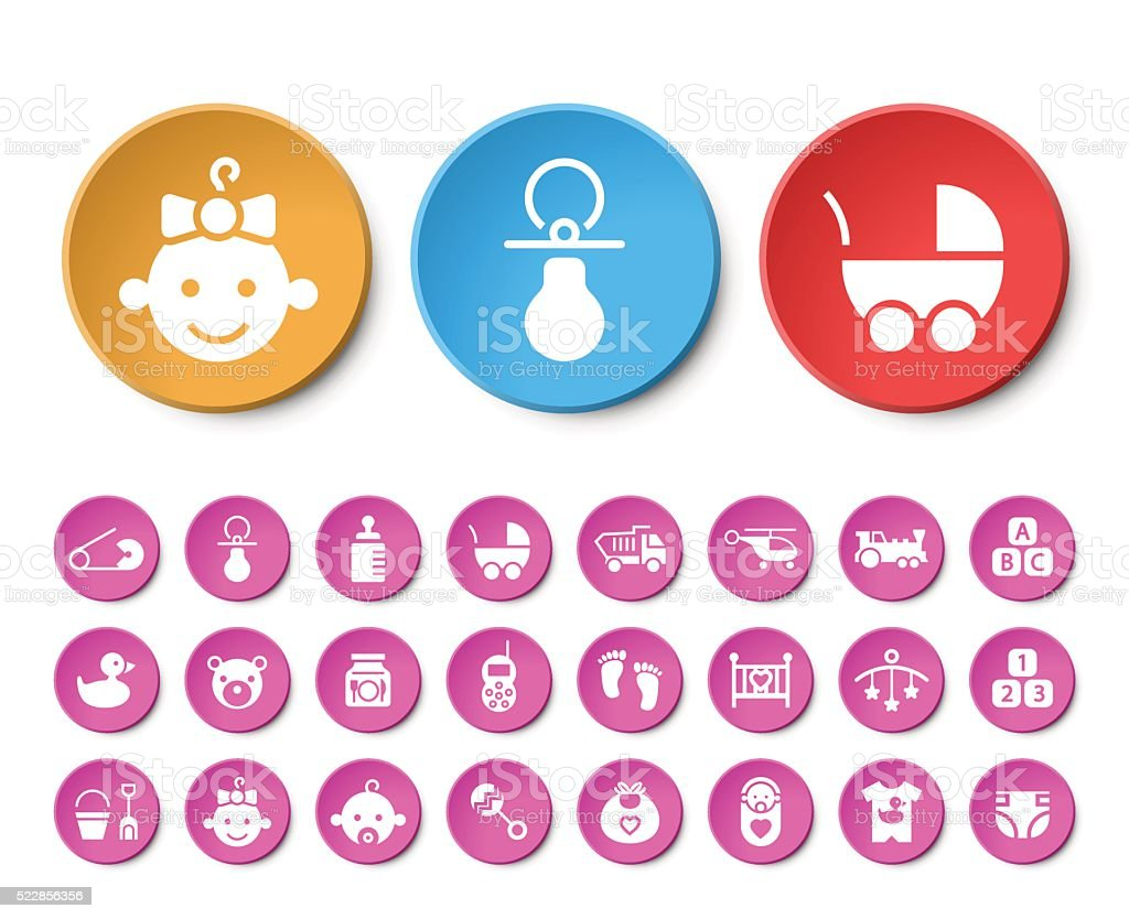 Set of 24 Universal Baby Icons. vector art illustration