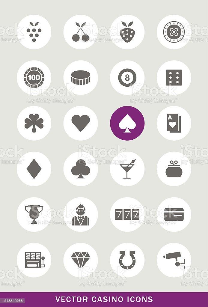 Set of 24 Universal Casino Icons. vector art illustration