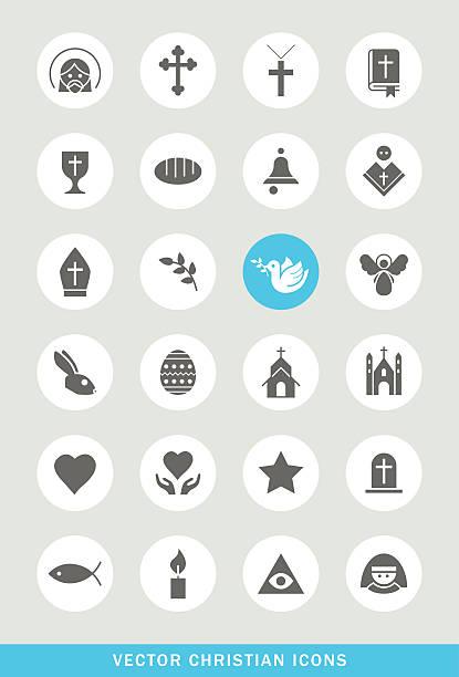 set of 24 universal christian icons. - religious symbols stock illustrations, clip art, cartoons, & icons