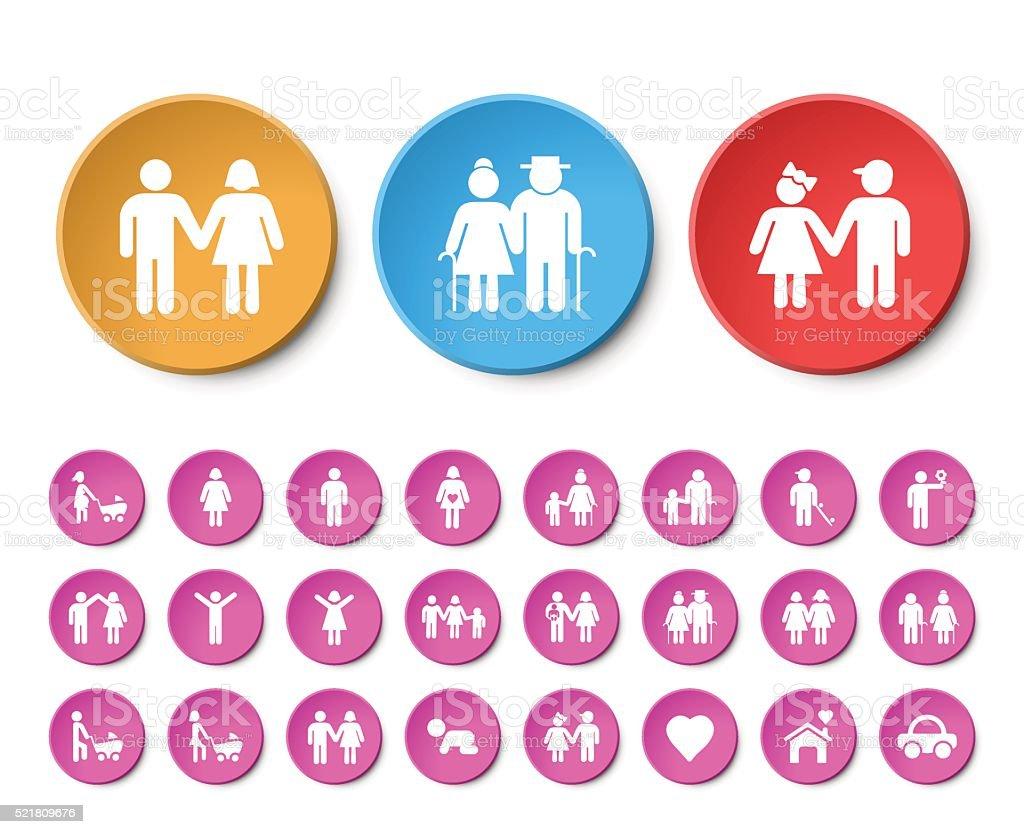Ensemble d'icônes Universal famille 24 heures sur 24. - Illustration vectorielle
