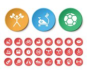 Set of 24 Universal Fitness Icons on White Background.