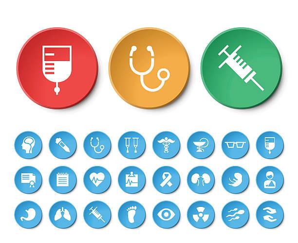 ilustrações de stock, clip art, desenhos animados e ícones de conjunto de ícones de médicos 24 universal circular de botões. - coração fraco