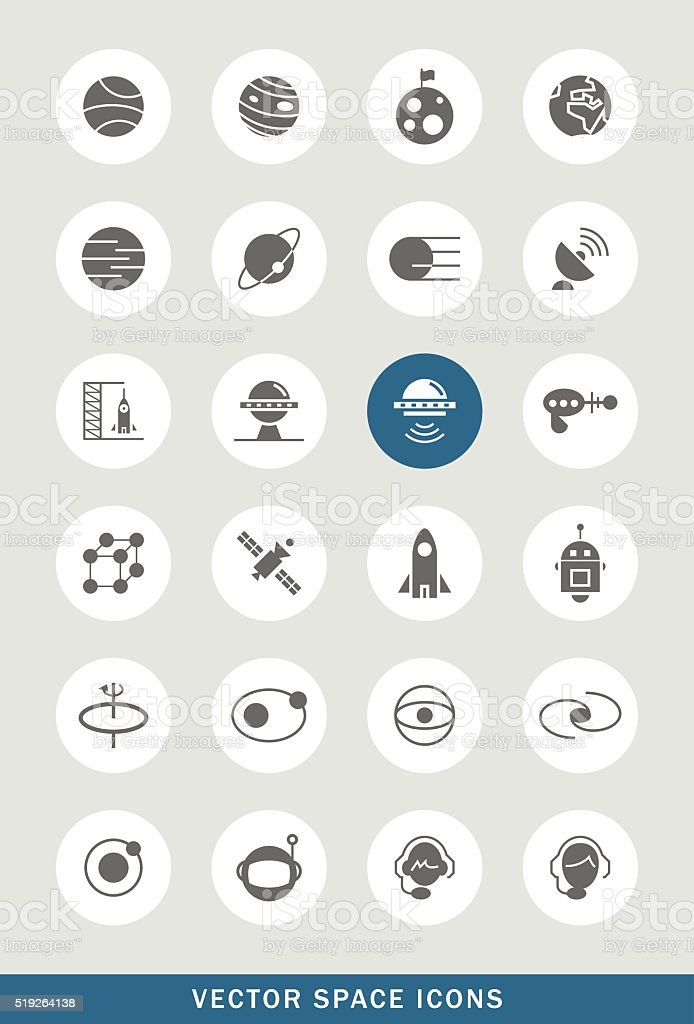 Set of 24 Universal Space Icons. vector art illustration