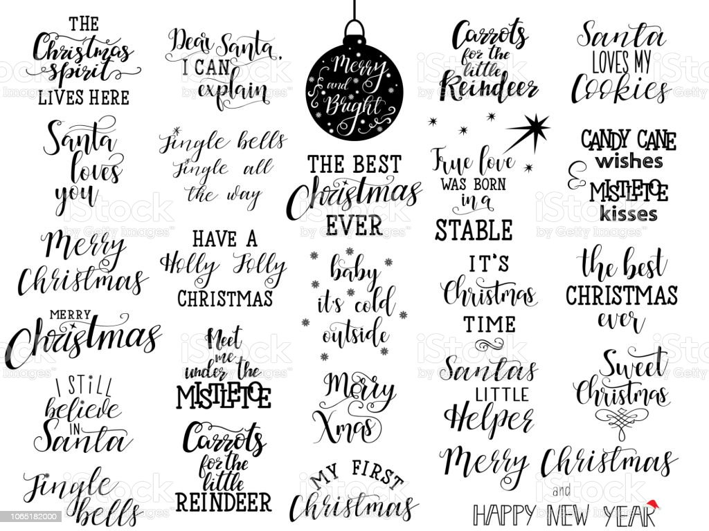 Christmas Calligraphy.Set Of 25 Christmas Hand Lettering Quotes To Greeting Card Banner Poster Calligraphy Vector Illustration Stock Illustration Download Image Now