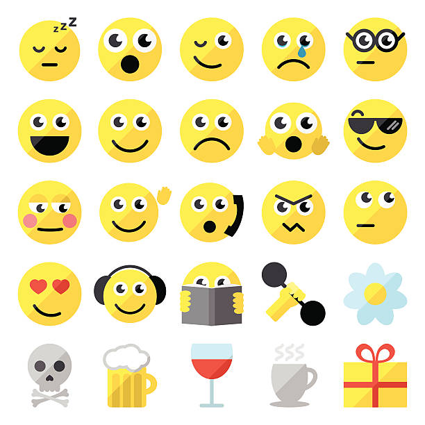 satz von 25 emoticons - glasblumen stock-grafiken, -clipart, -cartoons und -symbole