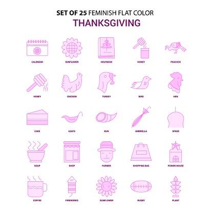 Set of 25 Feminish Thanksgiving  Flat Color Pink Icon set