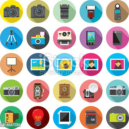 Flat camera and photographic equipment's icons with long shadows.