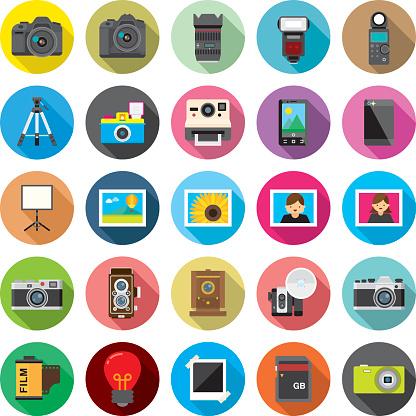Set of 25 Flat Camera & Photography icons (Kalaful series)