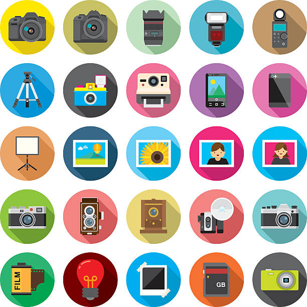 set of 25 flat camera & photography icons (kalaful series) - tematy fotograficzne stock illustrations
