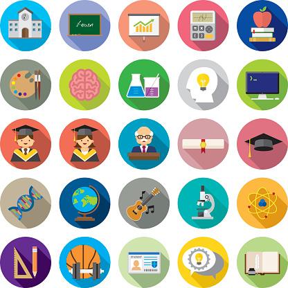 Set of 25 Flat Education icons (Kalaful series)