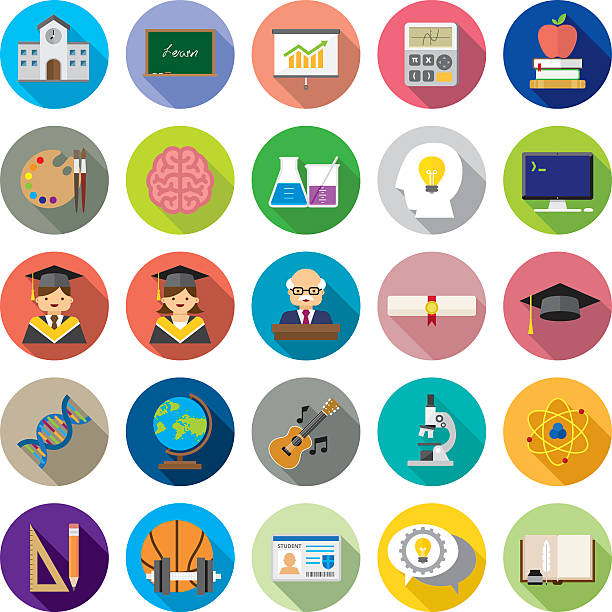 set of 25 flat education icons (kalaful series) - wissenschaftssymbole stock-grafiken, -clipart, -cartoons und -symbole