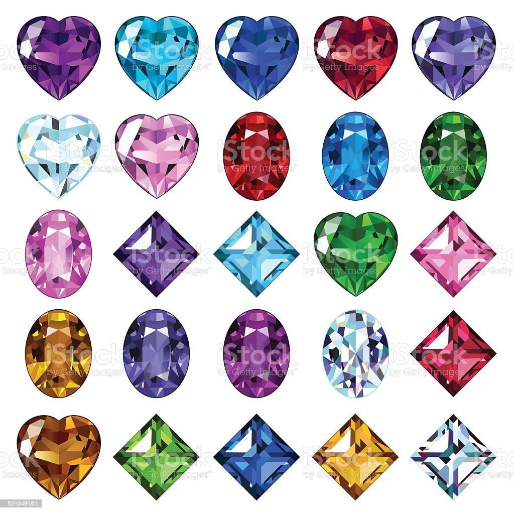 25 のアイコンの色の宝石 ベクターアートイラスト