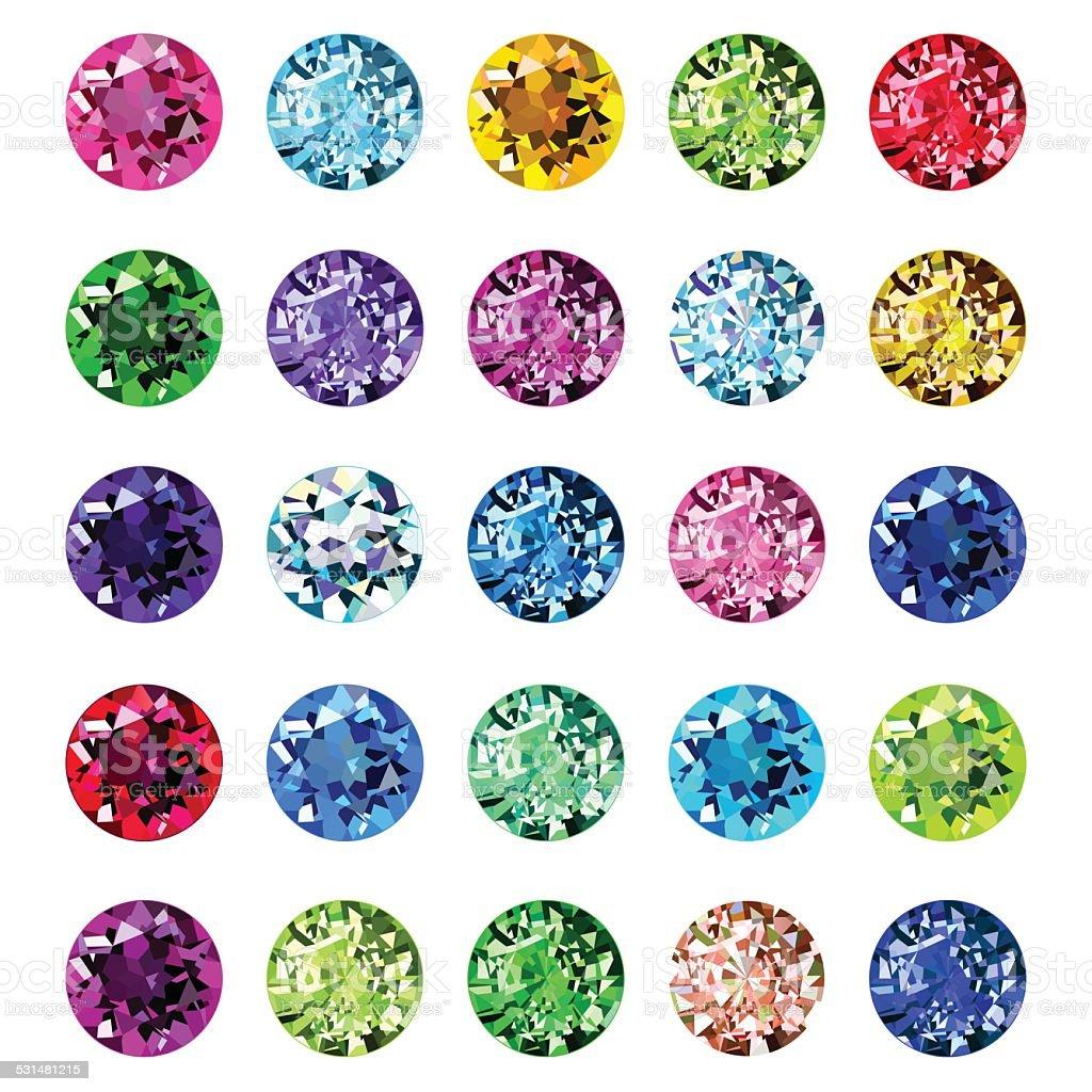 Set de 25 iconos de color gemstones - ilustración de arte vectorial
