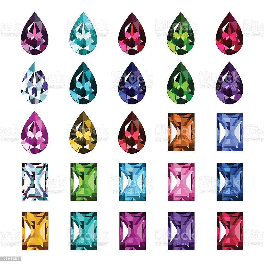 Set Of 25 Icons Colored Gemstones Stock Illustration