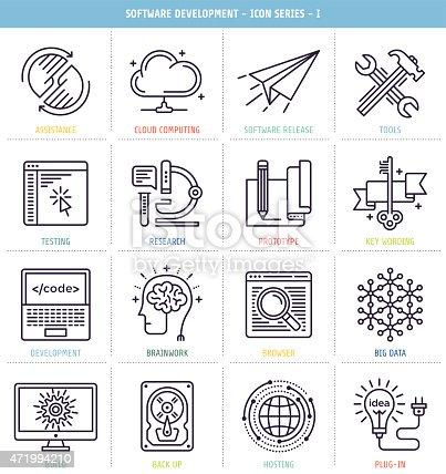 Software development icons set. These line style vector illustrations represent software development and programming processes.