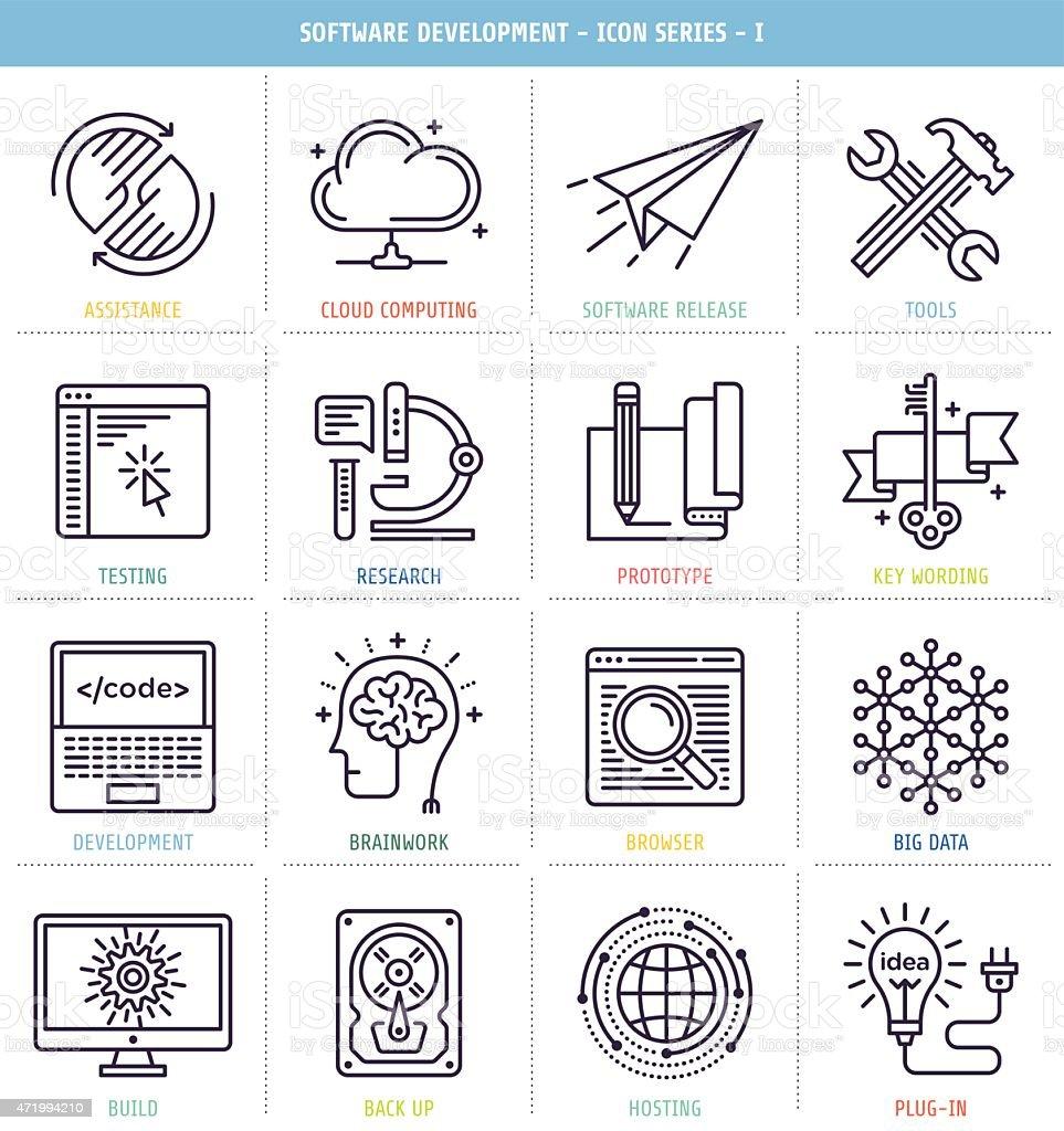 Set of 25 icons for software development vector art illustration