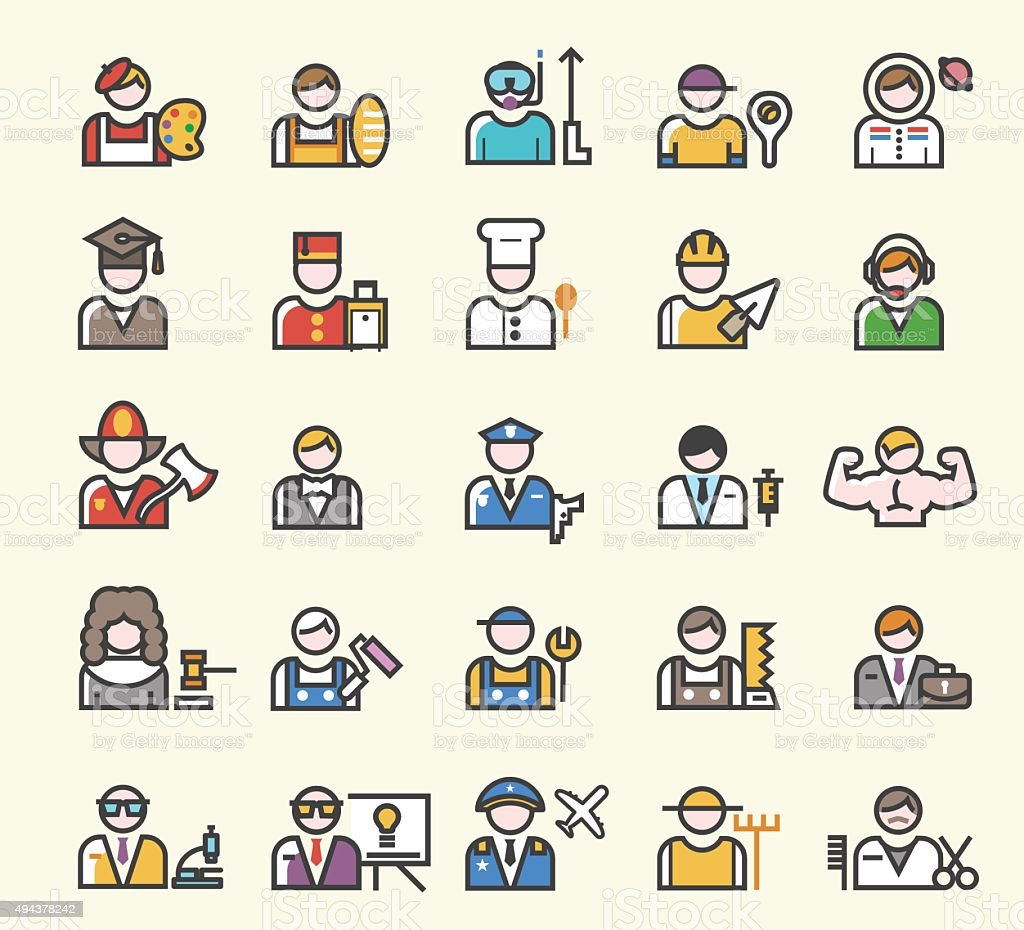 Set of 25 Minimal Solid Line Colored Professions Icons. vector art illustration