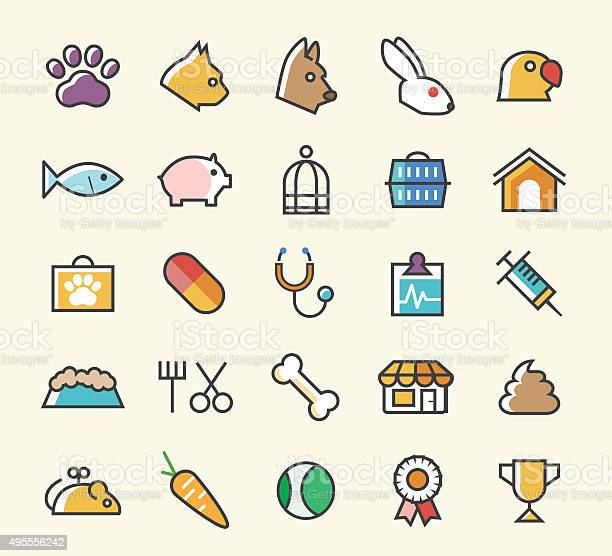 Set of 25 minimal solid line colored veterinary icons vector id495556242?b=1&k=6&m=495556242&s=612x612&h=xtzonv3dayme0a9mdvva8stofwrat9tef3wo90ubrtw=