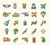 Set of 25 Minimal Solid Thin Line Colored War Icons.