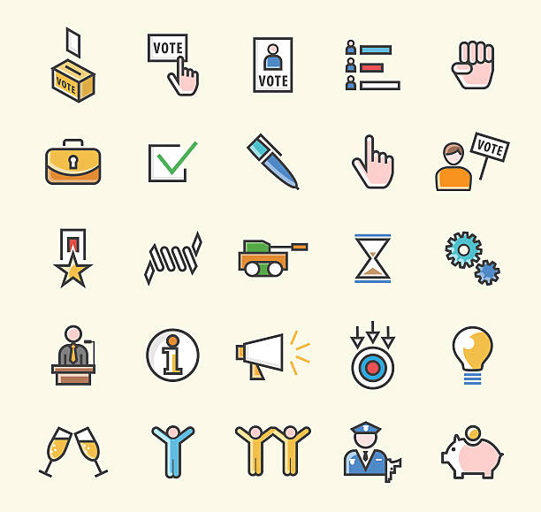 Set of 25 Minimalistic Solid Colored Political Icons. Isolated Vector Elements. police meeting stock illustrations