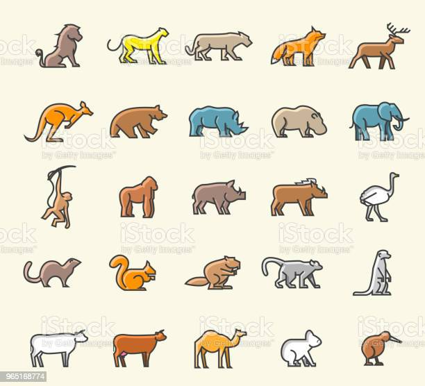 Set of 25 minimalistic solid line coloured animal icons isolated vector id965168774?b=1&k=6&m=965168774&s=612x612&h=mfxt3dy80hga c sx yiuyworzq7gk1tf62sdjridgy=