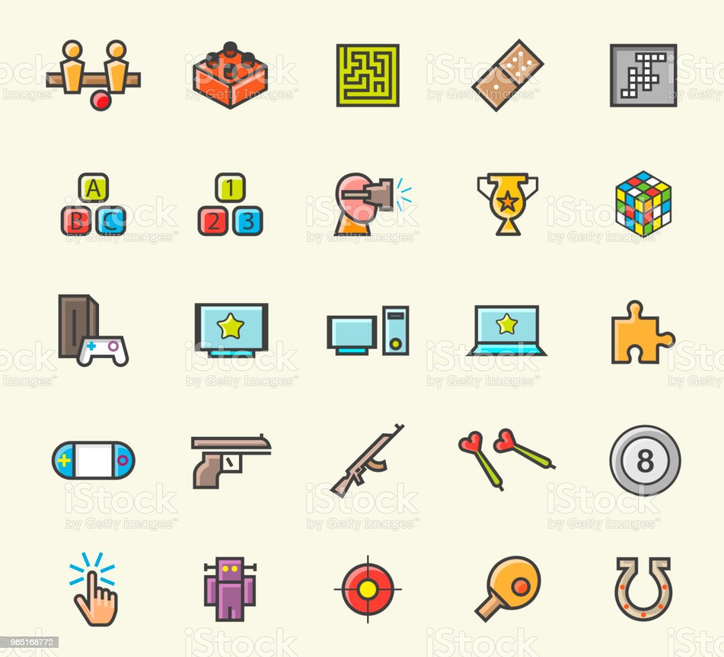 Set of 25 Minimalistic Solid Line Coloured Games Icons . Isolated Vector Elements royalty-free set of 25 minimalistic solid line coloured games icons isolated vector elements stock vector art & more images of arts culture and entertainment