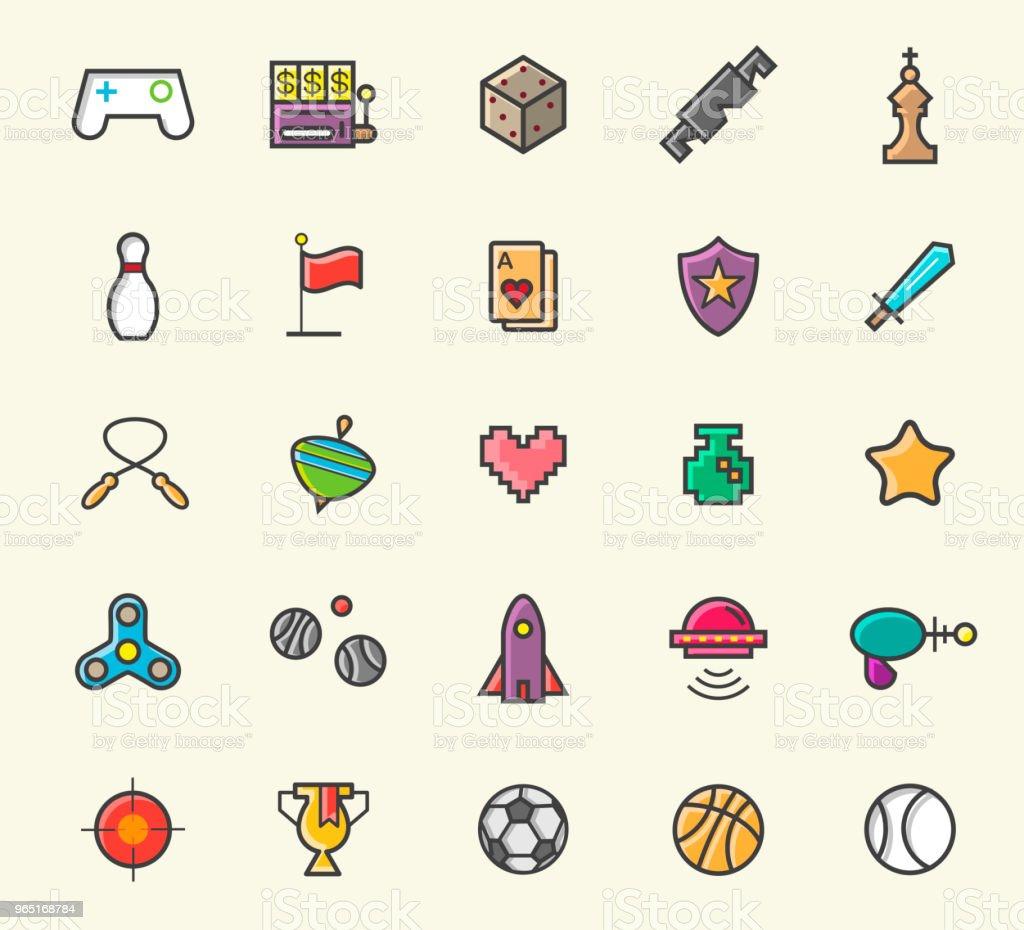 Set of 25 Minimalistic Solid Line Coloured Games Icons . Isolated Vector Elements set of 25 minimalistic solid line coloured games icons isolated vector elements - stockowe grafiki wektorowe i więcej obrazów aplikacja mobilna royalty-free