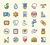 Set of 25 Minimalistic Solid Line Coloured Medical Icons.