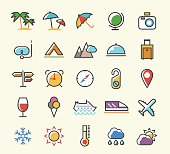 Set of 25 Minimalistic Solid Line Coloured Travel Icons